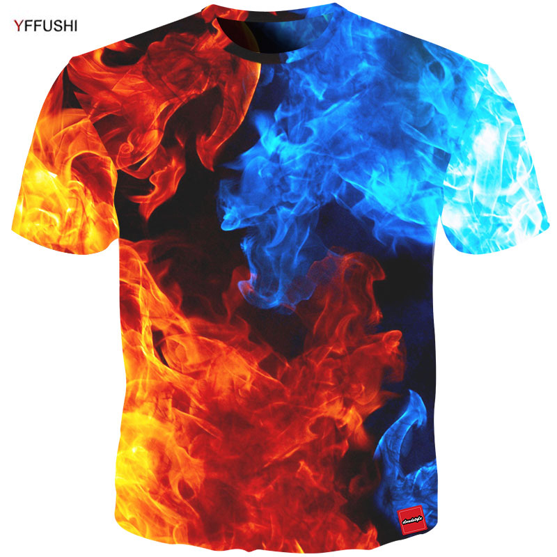 YFFUSHI 2018 Male 3D Plus Size 5XL   T     shirt   Fashion Fire and Ice Patchworked 3d Print Male /Female Tshirt Hip Hop Streatwear Men