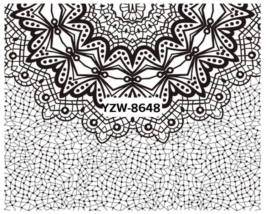 WUF 1 Sheet Beauty Black Lace Flower Design Nail Stickers Nail Art Decals Decorations Tools