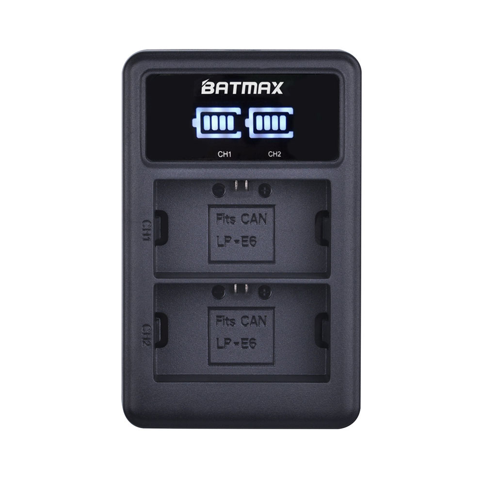 4Pcs LP-E6 LP E6 LPE6N Camera Battery AKKU Japan Sanyo Cell + LED USB Dual Charger For Canon EOS 5DS R 5D Mark II 5D 6D 7D 80D