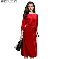 2017 Autumn Fashion Green Red Velvet Dress Women High Quality 3 4 Sleeve Casual Celebrity Evening