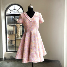 Autumn Women's V-neck A-line dress 2019 Fall runways elegant tweed dress A585 tie neck fringe detail tweed dress