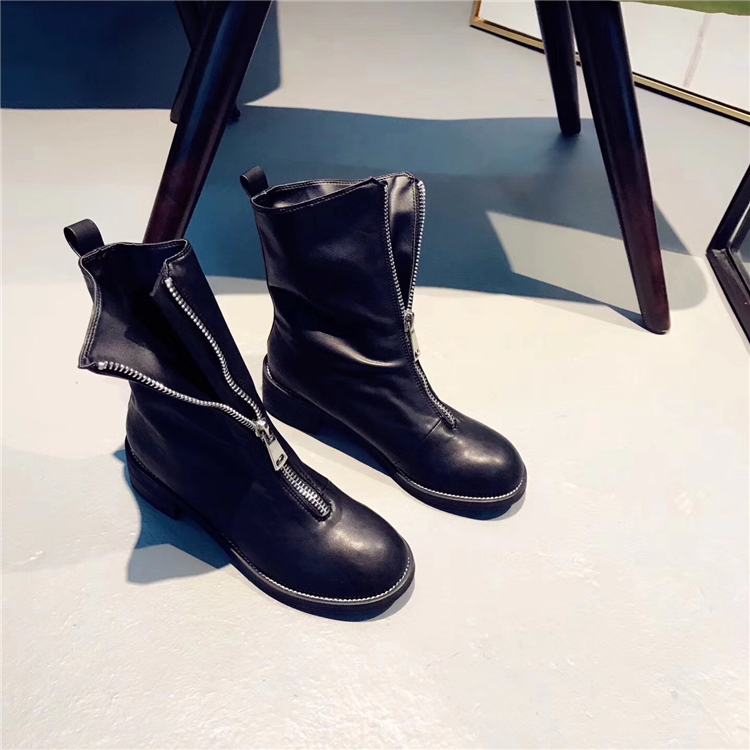 Knight Style Women Fashion Ankle Boots Round Toe Female Square Med Heel Martin Boots Zipper Front Black Leather Vintage Boots front lace up casual ankle boots autumn vintage brown new booties flat genuine leather suede shoes round toe fall female fashion