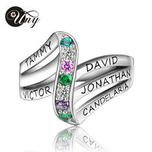 UNY 925 Sterling Silver Special Customized Engrave Valentine's Day gift specail Personalized Family Heirloom Birthstone Ring