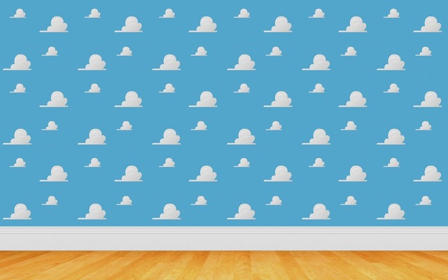 7x5FT Toys Story Cartoon White Clouds Blue Sky Wooden