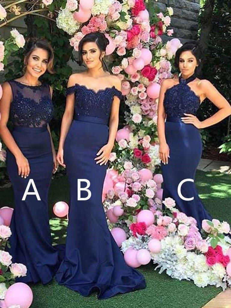 Bleu marine 2019 pas cher robes de demoiselle d'honneur sirène moins de 50 A ligne en mousseline de soie dentelle longues robes de mariée pour les femmes-dans la mariée
