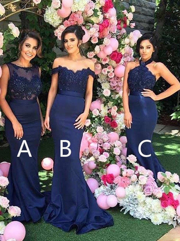Navy Blue 2019 Cheap   Bridesmaid     Dresses   Mermaid Under 50 A line Chiffon Lace Long Wedding Party   Dresses   For Women-in Bride