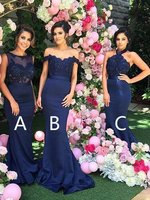 Navy Blue Cheap Bridesmaid Dresses Mermaid Under 50 A line Chiffon Lace Long Wedding Party Dresses For Women in Bride
