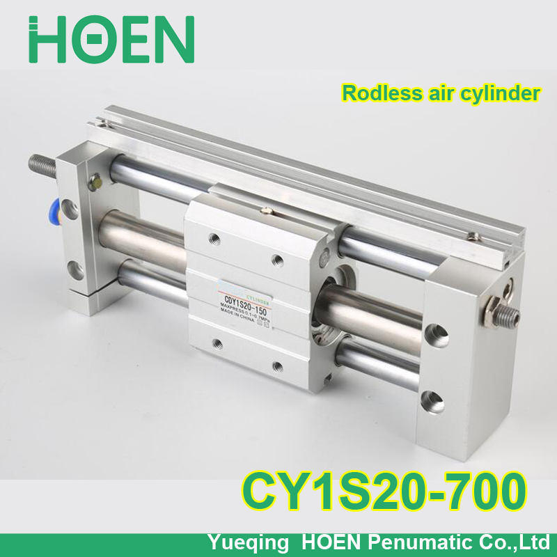 CY1S20-700 SMC type CY1S CY1B CY1R CY1L series 20mm bore 700mm stroke Slide Bearing Magnetically Coupled Rodless Cylinder cy1s 10mm bore air slide type cylinder pneumatic magnetically smc type compress air parts coupled rodless cylinder parts sanmin
