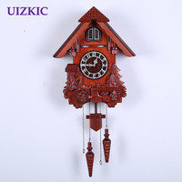 Fashion cuckoo wall clock wood carving vintage mute clock timekeeping for children kids gits