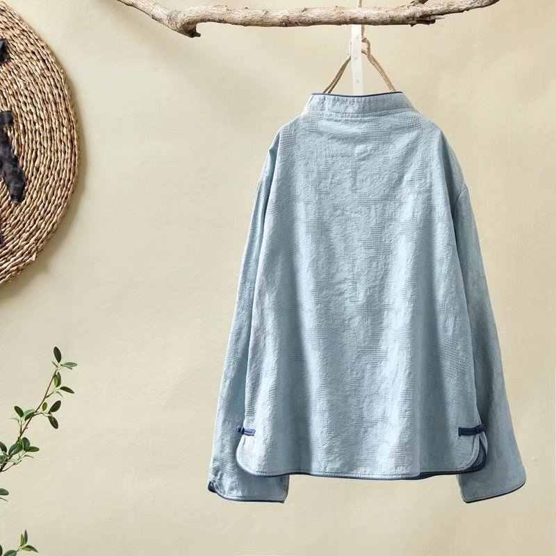 Новый осенний ветер хлопок, воротник-стойка с пуговицами из пластин, рубашка для женщин, короткая рубашка, триколор