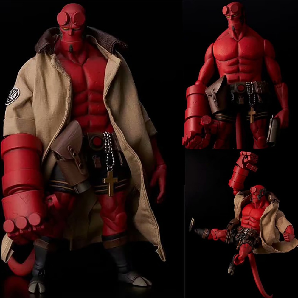 Hellboy Figure Mezco Toys Real Clothes Can Be Undress Hellboy PVC Action Figure Samaritan Model Toy Doll Christmas Gift 6 Inch