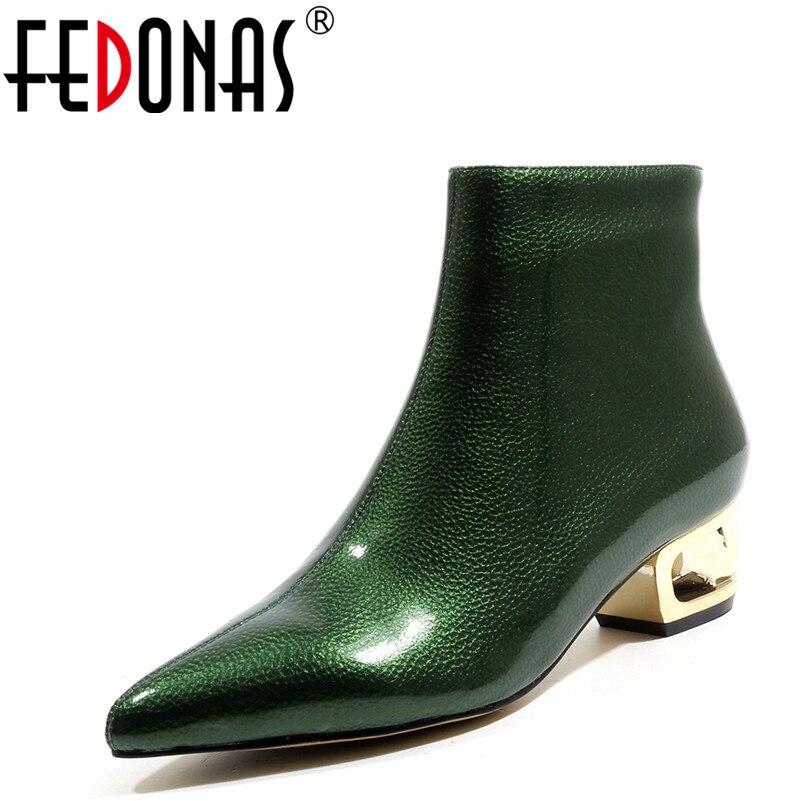 Altos Marrón Tacones Partido Fedonas Otoño Invierno Zapatos verde Nuevas Fretwork Caliente Mujeres De Botas Tobillo Punta Toe Mujer Marca TSzqT8rA