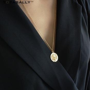 TOTASALLY золото Цвет греческих мифов Бог монета кулон 100% реальные s925 стерлингового серебра колье ожерелье для Для женщин