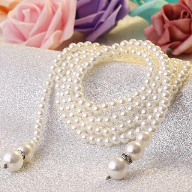 Elegante Bianco Perla Simulata Singolo Doppio Strato Lunga Collana Femminile Gioelleria raffinata e alla moda Cappotto Del Maglione Della Catena Regolabile