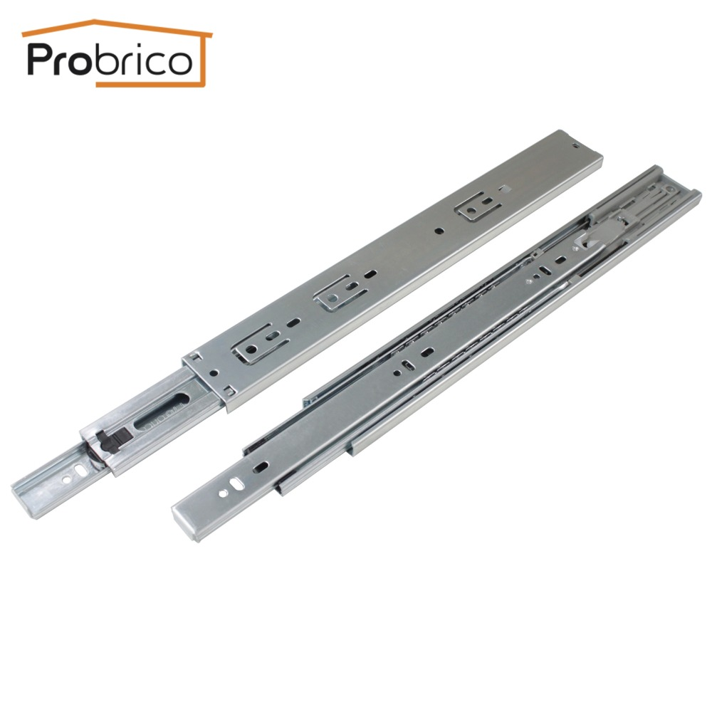 Probrico 1 Pair Drawer Slide 12 Soft Close Ball Bearing Drawer Rail Rear/Side Mount Kitchen Furniture DSHH32-12A black hydraulic buffered rail track three drawer slide drawer slide ball bearing slide rail damping