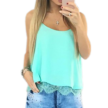 Summer Women Chiffon Blouse Shirts Sleeveless Sexy  Lace Cool Crop Top Femininos Beach Shirt Blusas Plus Size GV601