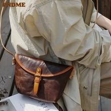 PNDME simple genuine leather diagonal bag original retro handmade cowhide small shoulder womens dumplings package