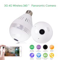 Home Security 3G 4G GSM Bulb Lamp Wireless IP Camera Wifi 960P Panoramic FishEye Home Security