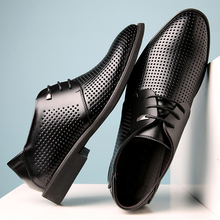 Misalwa Over Size 37 46 Summer / Autumn Hollow Dress Shoes Men Soft Split Leather Pointy Male Derby Oxford Business Formal Flats