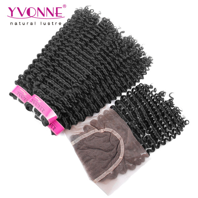 3 Bundles YVONNE Kinky Curly Brazilian Virgin Hair With Closure,100% Human Hair With Closure,Natural Color 1B