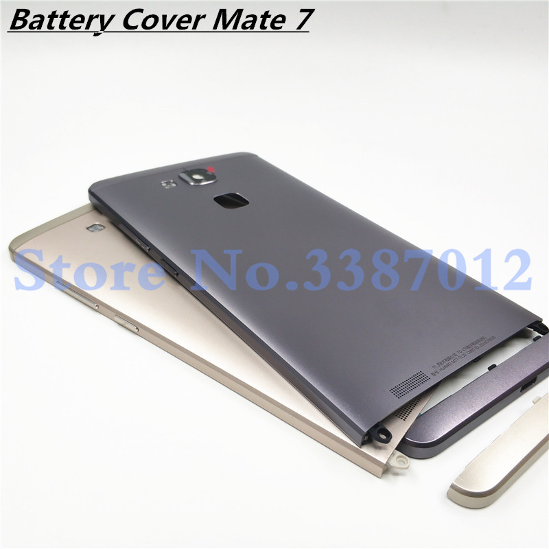 Original Metal Rear Housing Cover For Huawei Mate 7 Replacement Back Door Battery Case With Side Buttons + Lens Glass
