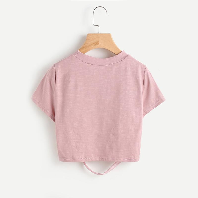 HTB1lCQOQVXXXXcnXXXXq6xXFXXXz - Pink Ladder Ripped Short Sleeve Round Neck Crop Tee PTC 334