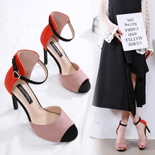 Liren 2019 PU Sandals Summer Fashion Lady Party Sexy Buckle Shallow Fish Mouth Open Toe Thin High Heels