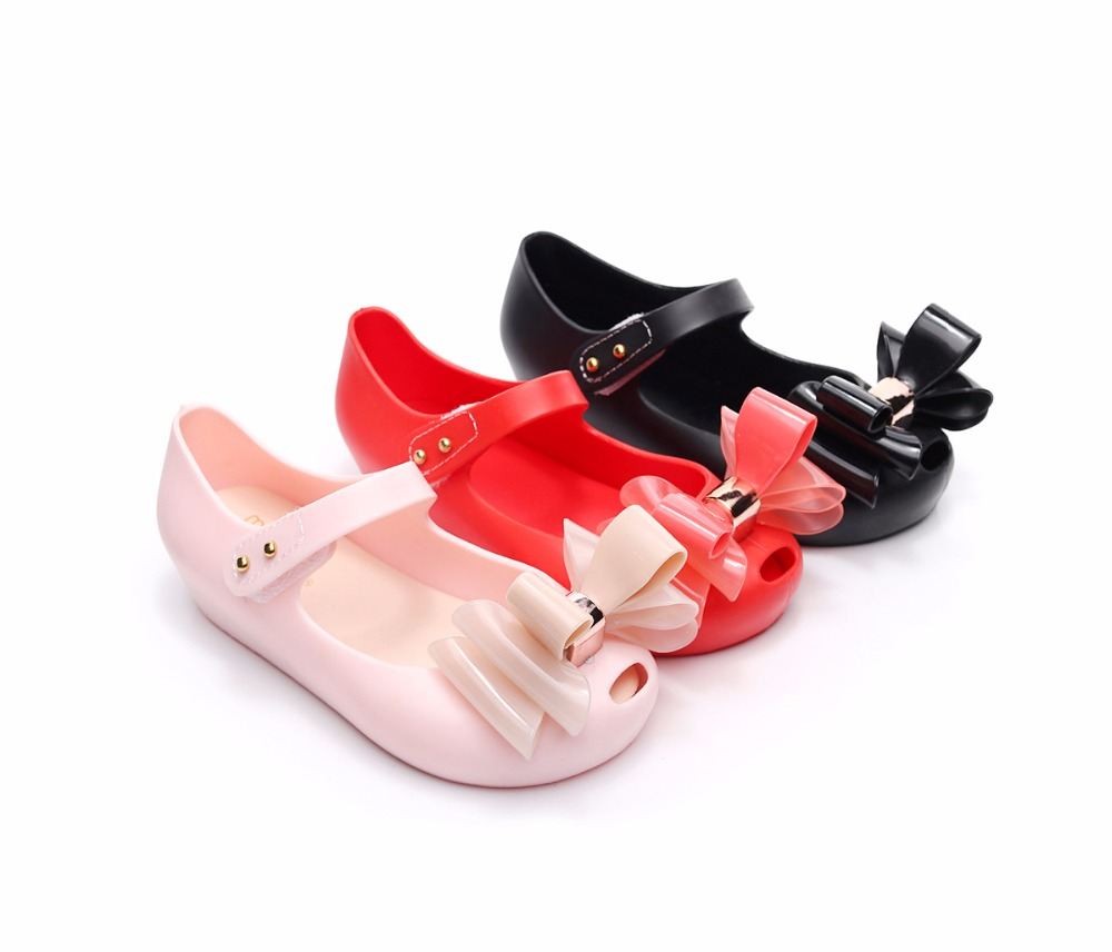 Mini Melissa Mini Three Bows Jelly Girls Sandals New Girls Sandals Children Shoes Shoes Jelly Baby Sandals Shoes