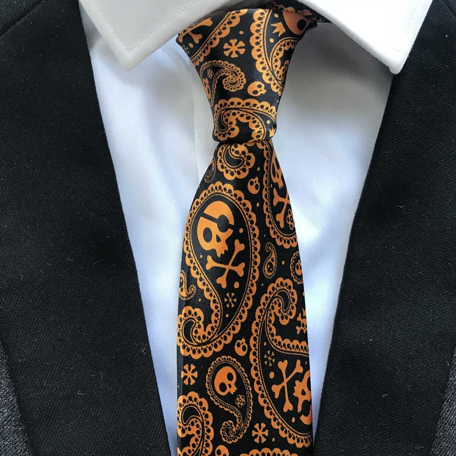 8cm Unique Designer Necktie Men's Fashion Printed Ties Black With Golden Orange Skull Pattern