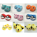8 Styles Pokemon Plush Pikachu Eevee Plush Shoes Fluffy Slippers Keychain Stuffed plush adult slippers shoes