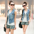 Free Shipping 2017 New Fashion Spring And Summer Plus Size XL Short Sleeveless Vest Women Waistcoat Denim Outerwear Stretch Vest