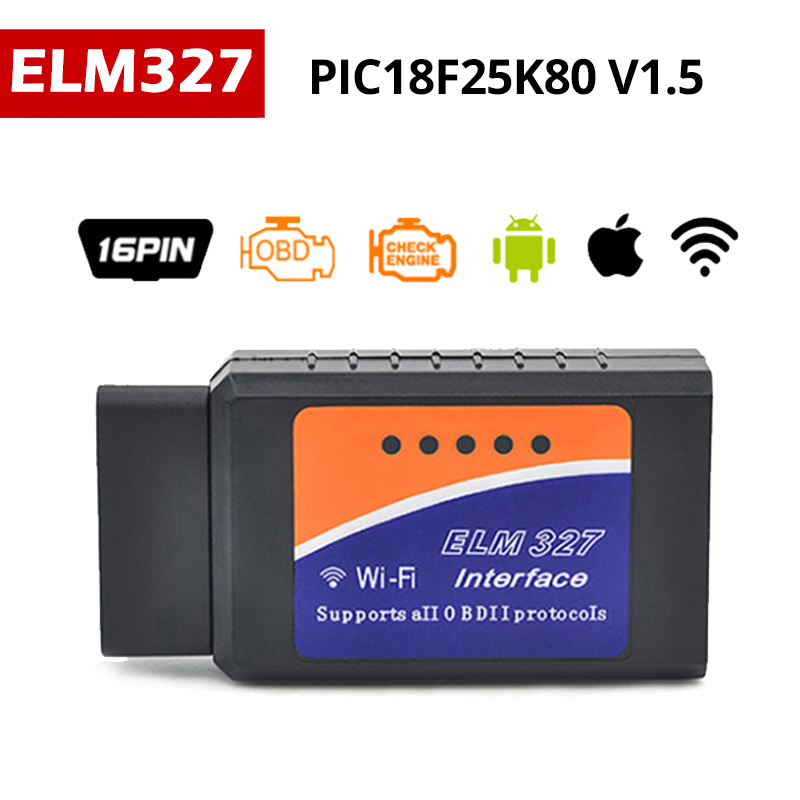 цена на PIC18F25K80 ELM327 WIFI V1.5 OBD2 scanner automotivo Code Reader OBD Scanner Adapter Car Diagnostic OBD 2 V 1.5 OBDII ELM 327
