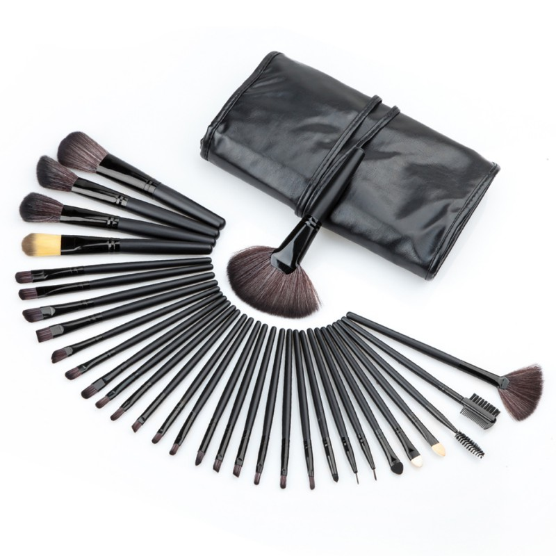 Generic 32 Pcs Professional Makeup Brushes Set Black Rod Makeup Brush Cosmetic Set Kit with Case