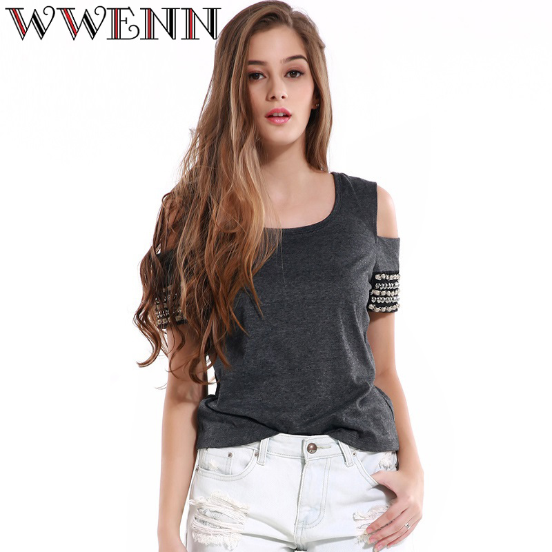 Summer Knitted Blusa Women Tops Dark Gray Rivet Shirt Female Blouses Clothing Off Shoulder Crochet Beading Top Tees Blusa