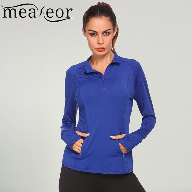 f34a6be3 Meaneot Autumn Women T-Shirts Sweatshirts Long Sleeve Solid Zipper Fitness  V-NeckTops walking outwear Casual Ladies Clothes Tees
