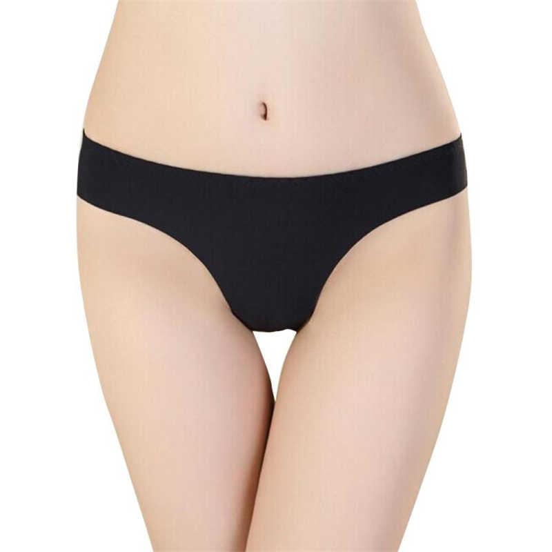 Yeni moda sıcak kadınlar görünmez iç çamaşırı tanga pamuk Spandex gaz dikişsiz Crotch külot sexy lingerie calcinha