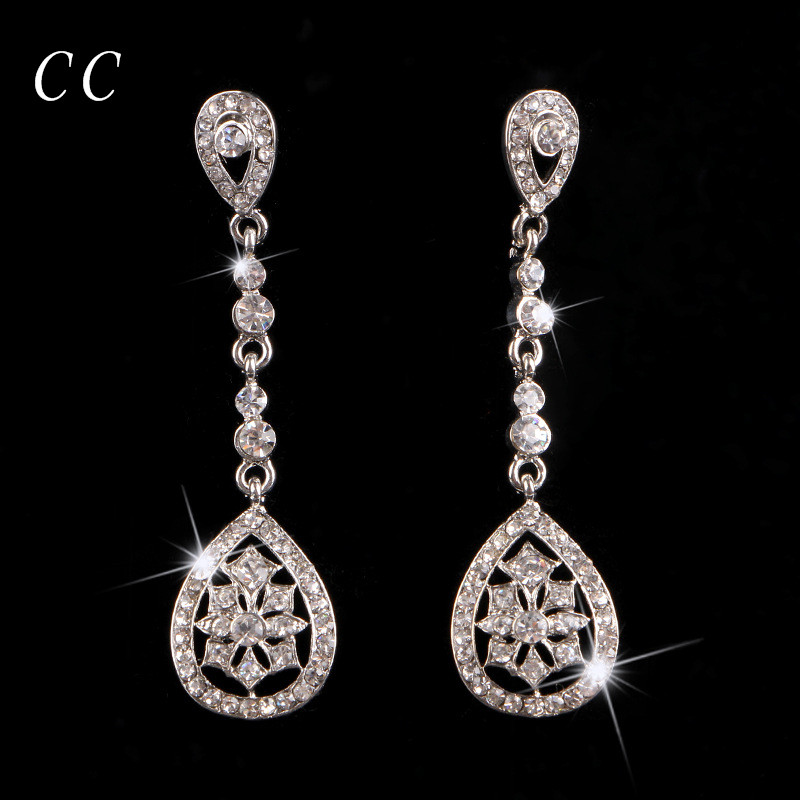 Wedding Jewelry For Brides Teardrop Crystal Long Earrings for Women Party Engagement Vintage Jewellery Chic Accessories B026
