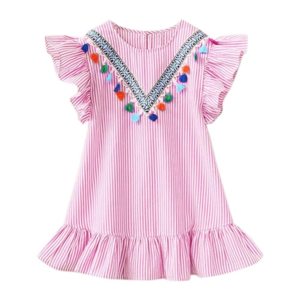 HTB1lCRAXUGF3KVjSZFvq6z nXXa7 Summer Girls Tassel Flying Sleeve Dresses Stripe Cute Kids Party for girls Princess Dress Tops Clothes