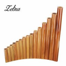 Zebra Bamboo Pipes Flutes 15 Pipes Handmade Bamboo Pan Pipes Panflutes with Case Cover For Musical Instruments Lover