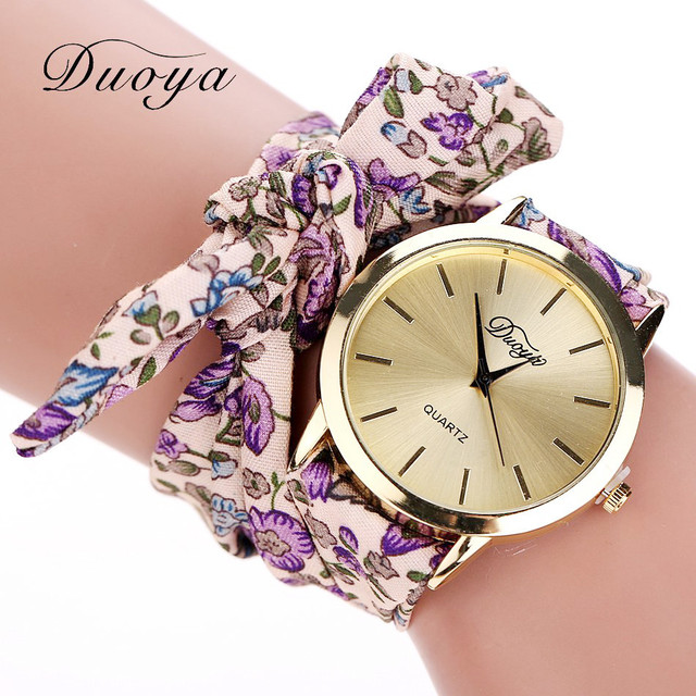 Famous Brand Watch Women Fashion Casual Fabric Flower Bracelet Watch Women Dress