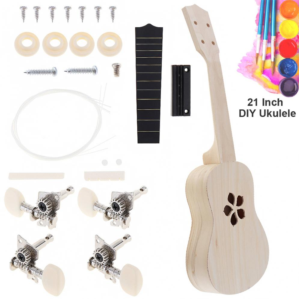 US $12 33 32% OFF|21 Inch New Ukulele DIY Kit Basswood Soprano Hawaii  Guitar with Sakura Sound Hole Handwork Painting for Parents child  Campaign-in