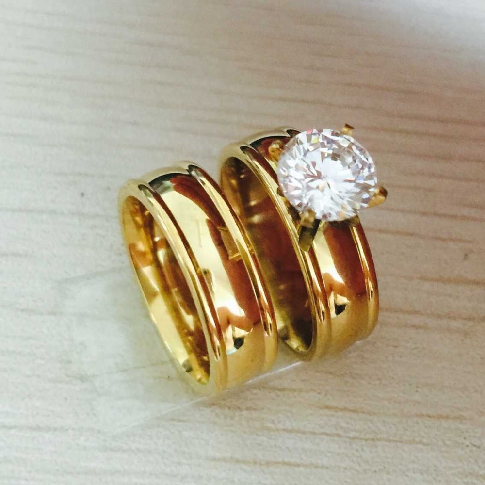 Large Cz Zircon Rhinestone Gold Filled Real Love Couple Ring Wedding Rings  Engagement Pair Rings For
