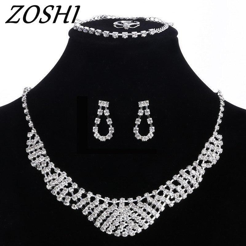 ZOSHI Fashion Rhinestone Bridal font b Jewelry b font Set Wedding Prom Party Accessories Necklace Earring