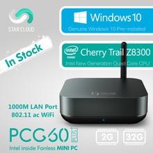 Безвентиляторный Intel Мини-ПК звезды облако PCG60 плюс 2 ГБ 32 ГБ Окна 10 дома Cherry Trail Z8300 HDMI VGA 1000 м LAN 5 г Wi-Fi BT4.0 USB3.0