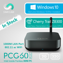 Fanless Intel Mini PC Star Cloud PCG60 Plus 2GB 32GB Windows 10 Home Cherry Trail Z8300 HDMI VGA 1000M LAN 5G WiFi BT4.0 USB3.0