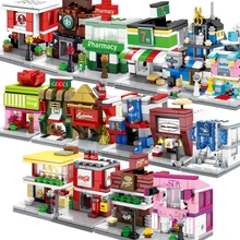NEW Street View Restaurant Beverage Coffee Jewelry Bookstore Gaming Room Shop Store Architecture Building Blocks Sets hsanhe new street store plastic building blocks mini shop architecture dinosaur museum educational brinquedos for kids xmas gift