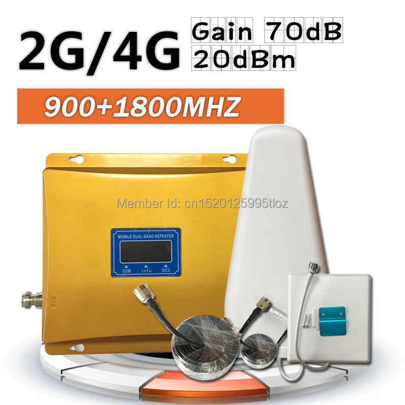 4G 2G 900 1800 Dual Band Cell Phone Cellular Signal Amplifier GSM DCS LTE Mobile Phone Signal Range Booster+Cable+Antenna