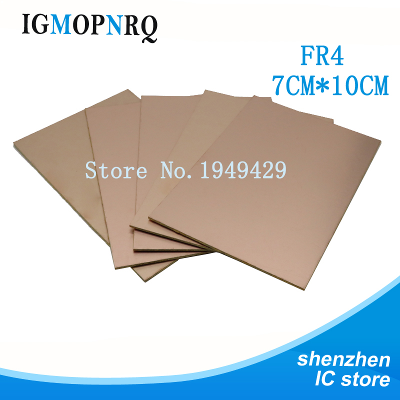 10pcs PCB FR4 7*10 Single Side Copper Clad Plate DIY PCB Kit Laminate Circuit Board 7x10cm Free Shipping