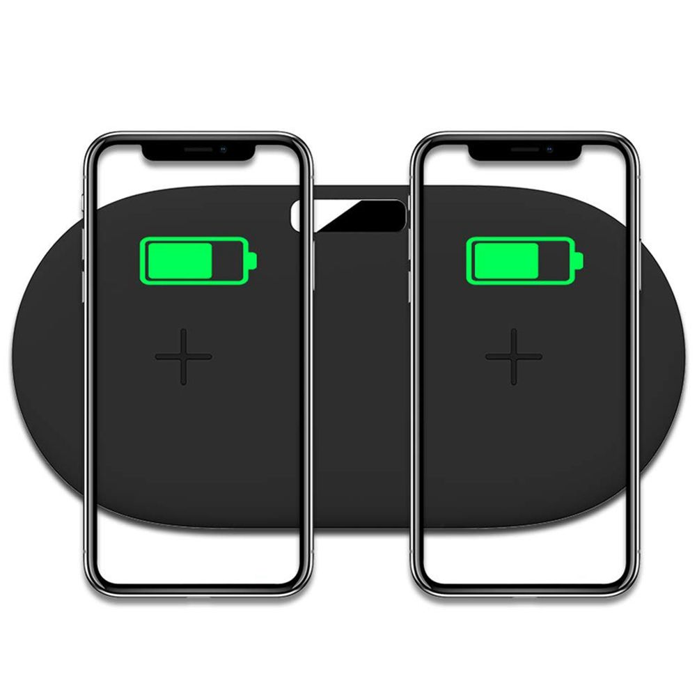 Dual Wireless Charging Pad,10W Qi Certified Fast Charger Two Phones Compatible iPhone X/8, Samsung Note 8/S8, S7, S6 Other Qi
