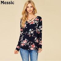 Messic Vintage Bloemen Tie Dye Sexy Cross V-hals Vrouwen T-Shirts 2018 Vrouwelijke Lente Casual Tuniek Tops Lange Mouwen Knit Tees Shirts